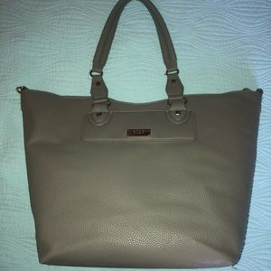 BCBG Grey Leather Tote like new